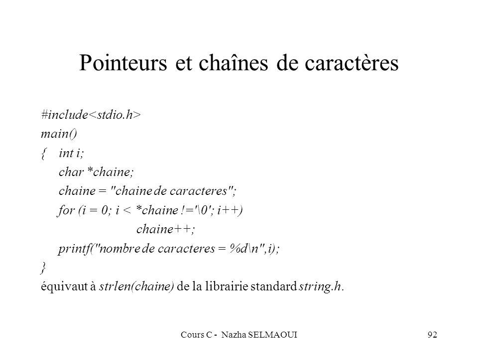 Cours C - Nazha SELMAOUI92 Pointeurs et chaînes de caractères #include main() {int i; char *chaine; chaine = chaine de caracteres ; for (i = 0; i < *chaine != \0 ; i++) chaine++; printf( nombre de caracteres = %d\n ,i); } équivaut à strlen(chaine) de la librairie standard string.h.