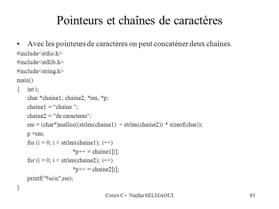 Cours C - Nazha SELMAOUI93 Pointeurs et chaînes de caractères Avec les pointeurs de caractères on peut concaténer deux chaînes.