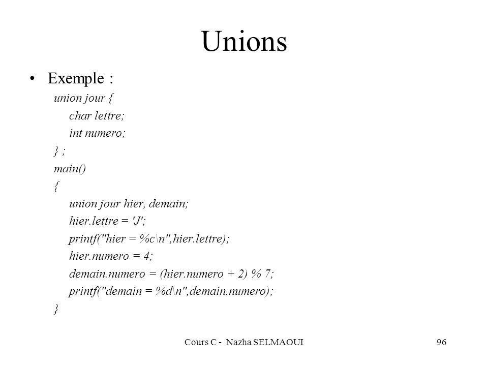 Cours C - Nazha SELMAOUI96 Unions Exemple : union jour { char lettre; int numero; } ; main() { union jour hier, demain; hier.lettre = J ; printf( hier = %c\n ,hier.lettre); hier.numero = 4; demain.numero = (hier.numero + 2) % 7; printf( demain = %d\n ,demain.numero); }