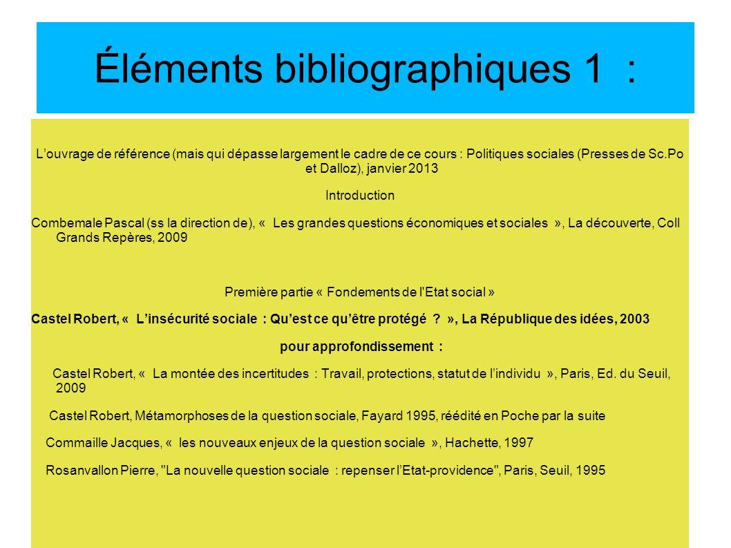 Éléments bibliographiques 1 : Louvrage de référence (mais qui dépasse largement le cadre de ce cours : Politiques sociales (Presses de Sc.Po et Dalloz
