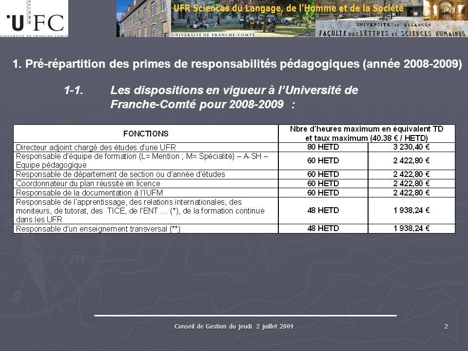 Conseil de Gestion du jeudi 2 juillet 2009 2 1.