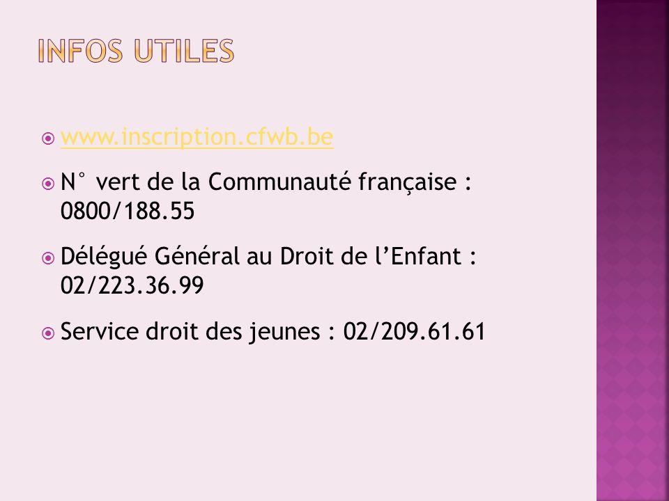 www.inscription.cfwb.be N° vert de la Communauté française : 0800/188.55 Délégué Général au Droit de lEnfant : 02/223.36.99 Service droit des jeunes : 02/209.61.61