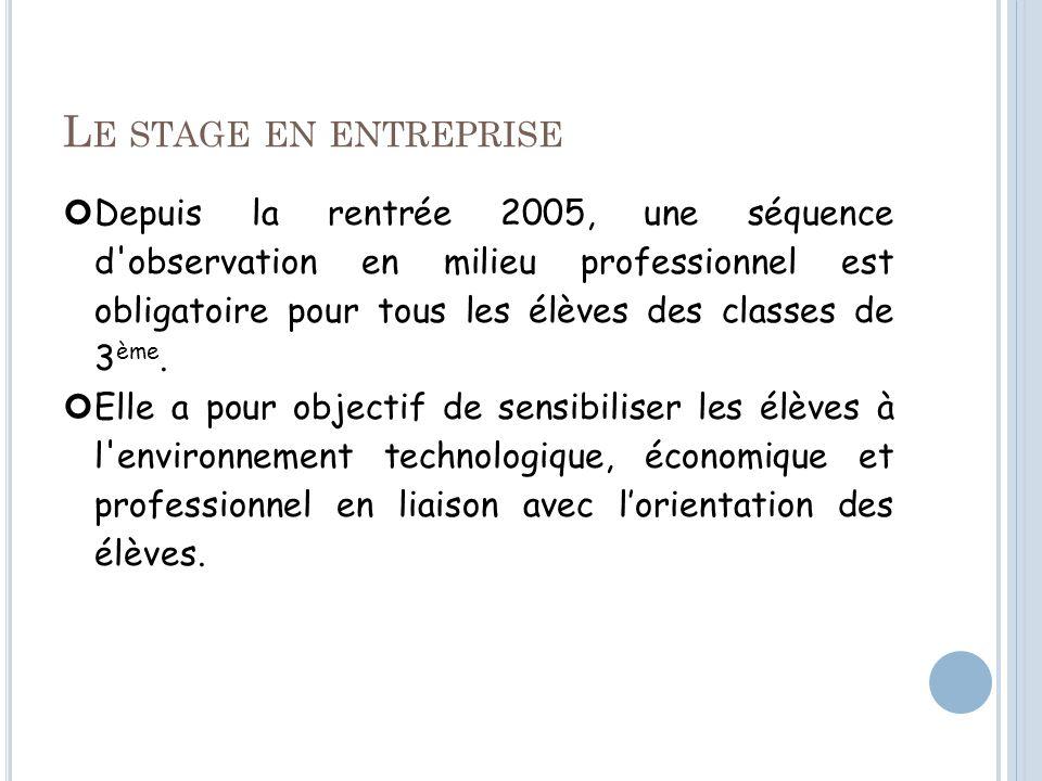 L E STAGE EN ENTREPRISE Depuis la rentrée 2005, une séquence d observation en milieu professionnel est obligatoire pour tous les élèves des classes de 3 ème.