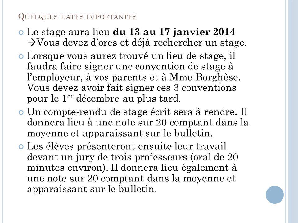 Q UELQUES DATES IMPORTANTES Le stage aura lieu du 13 au 17 janvier 2014 Vous devez dores et déjà rechercher un stage.
