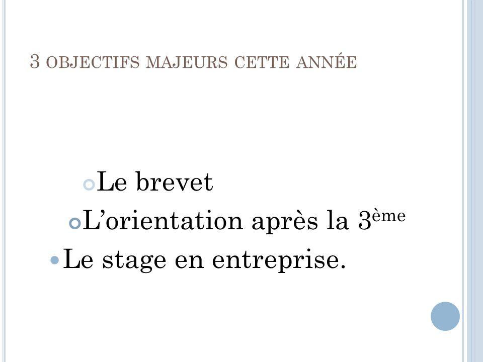 3 OBJECTIFS MAJEURS CETTE ANNÉE Le brevet Lorientation après la 3 ème Le stage en entreprise.