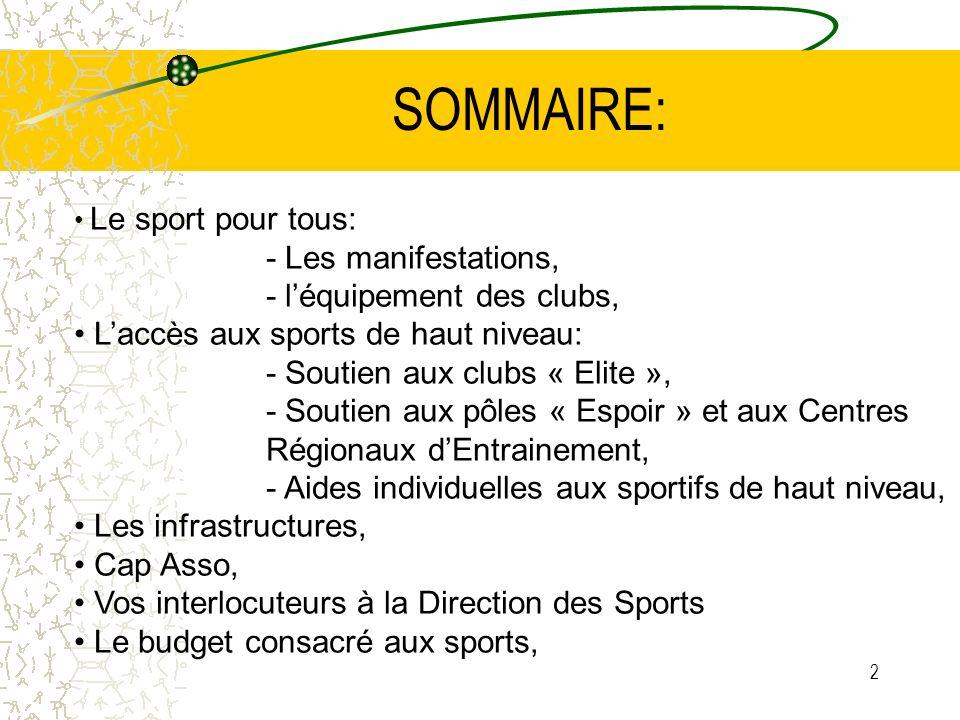 2 SOMMAIRE: Le sport pour tous: - Les manifestations, - léquipement des clubs, Laccès aux sports de haut niveau: - Soutien aux clubs « Elite », - Sout