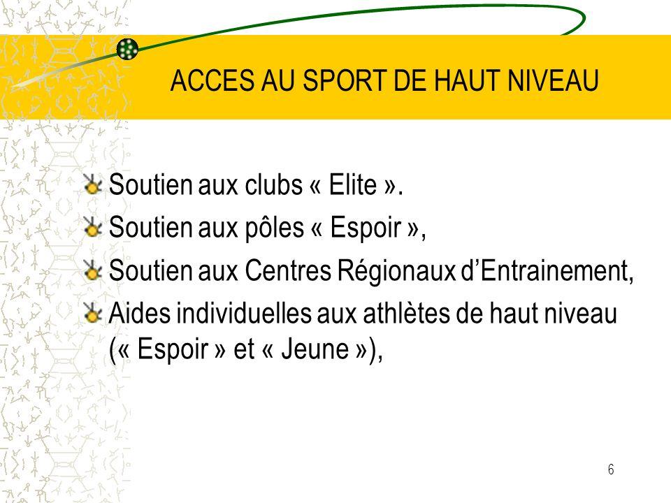 6 ACCES AU SPORT DE HAUT NIVEAU Soutien aux clubs « Elite ». Soutien aux pôles « Espoir », Soutien aux Centres Régionaux dEntrainement, Aides individu