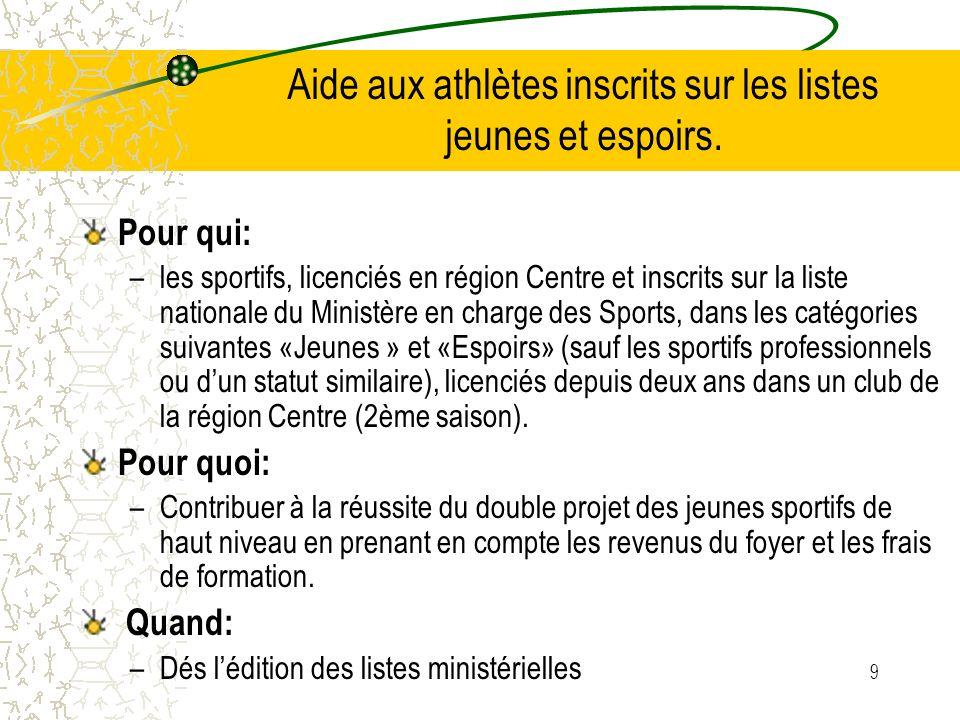 9 Aide aux athlètes inscrits sur les listes jeunes et espoirs. Pour qui: –les sportifs, licenciés en région Centre et inscrits sur la liste nationale