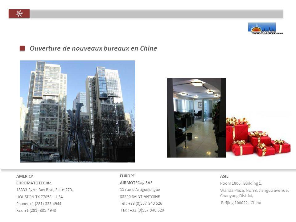 Ouverture de nouveaux bureaux en Chine AMERICA CHROMATOTEC Inc.