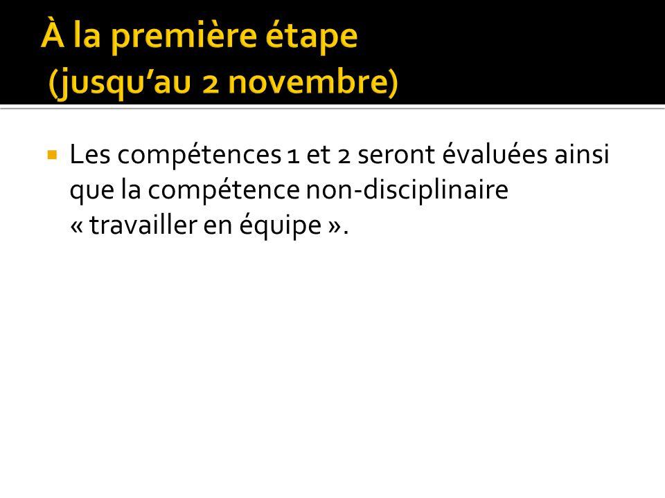 Les compétences 1 et 2 seront évaluées ainsi que la compétence non-disciplinaire « travailler en équipe ».