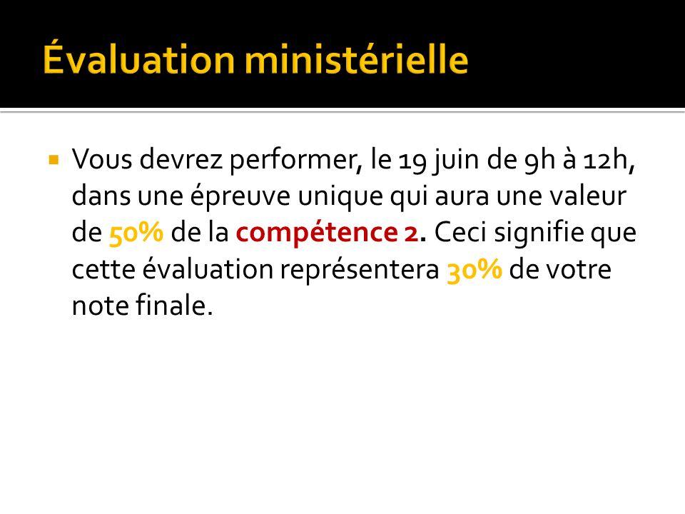 Vous devrez performer, le 19 juin de 9h à 12h, dans une épreuve unique qui aura une valeur de 50% de la compétence 2.