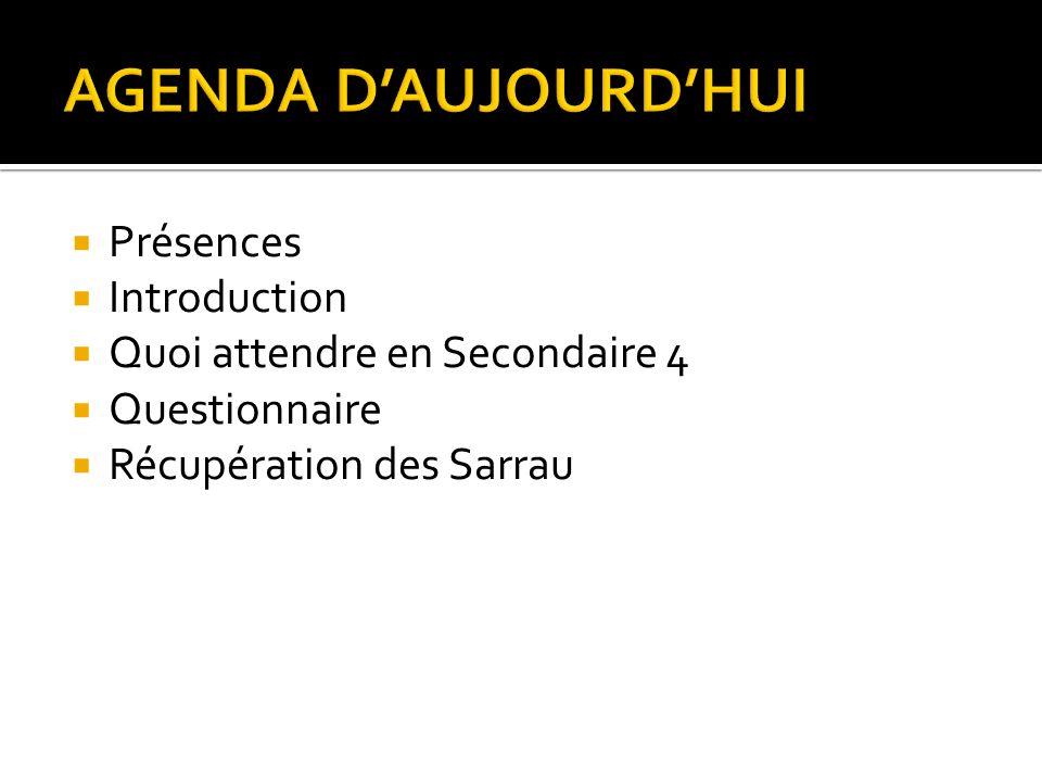 Présences Introduction Quoi attendre en Secondaire 4 Questionnaire Récupération des Sarrau