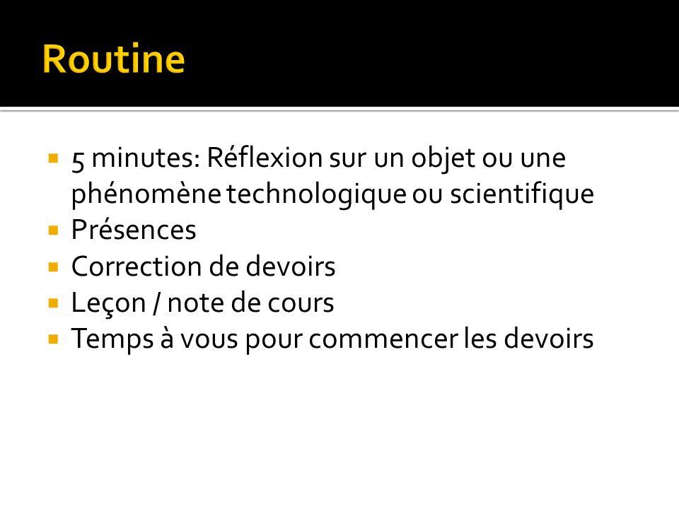 5 minutes: Réflexion sur un objet ou une phénomène technologique ou scientifique Présences Correction de devoirs Leçon / note de cours Temps à vous pour commencer les devoirs