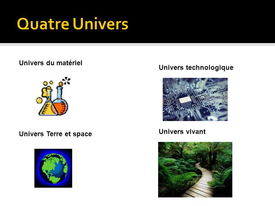 Univers du matériel Univers technologique Univers Terre et space Univers vivant