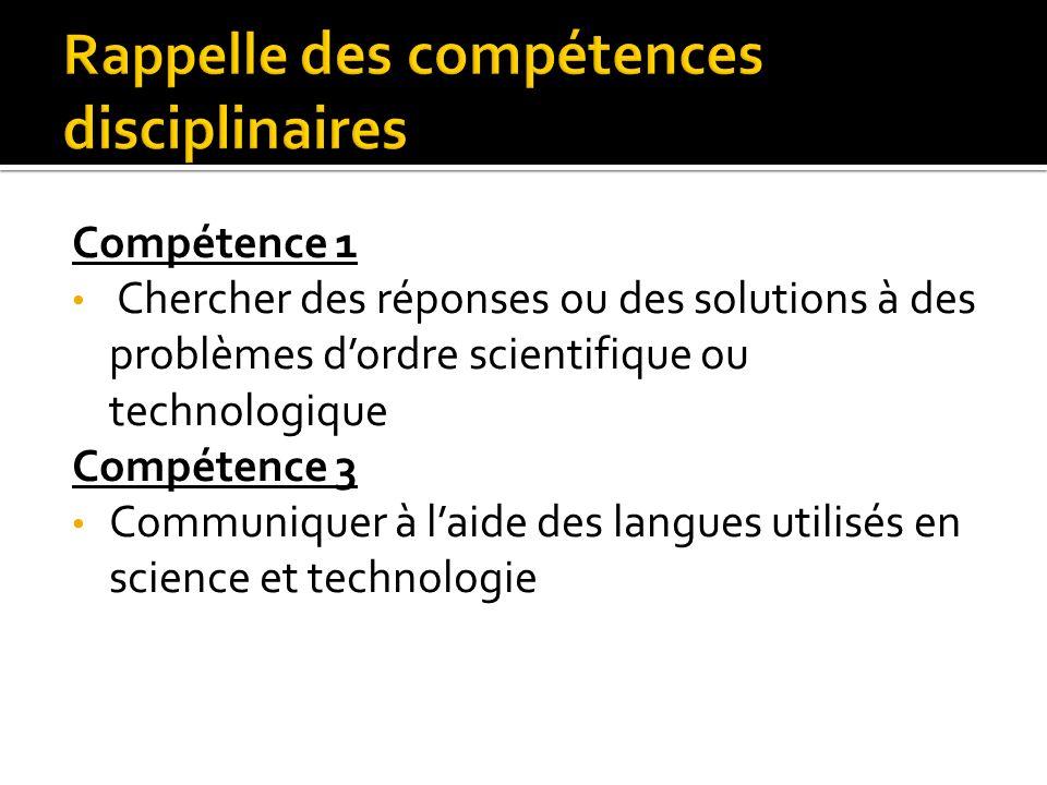 Compétence 1 Chercher des réponses ou des solutions à des problèmes dordre scientifique ou technologique Compétence 3 Communiquer à laide des langues utilisés en science et technologie