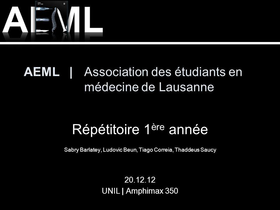 AEML | Association des étudiants en médecine de Lausanne Répétitoire 1 ère année Sabry Barlatey, Ludovic Beun, Tiago Correia, Thaddeus Saucy 20.12.12