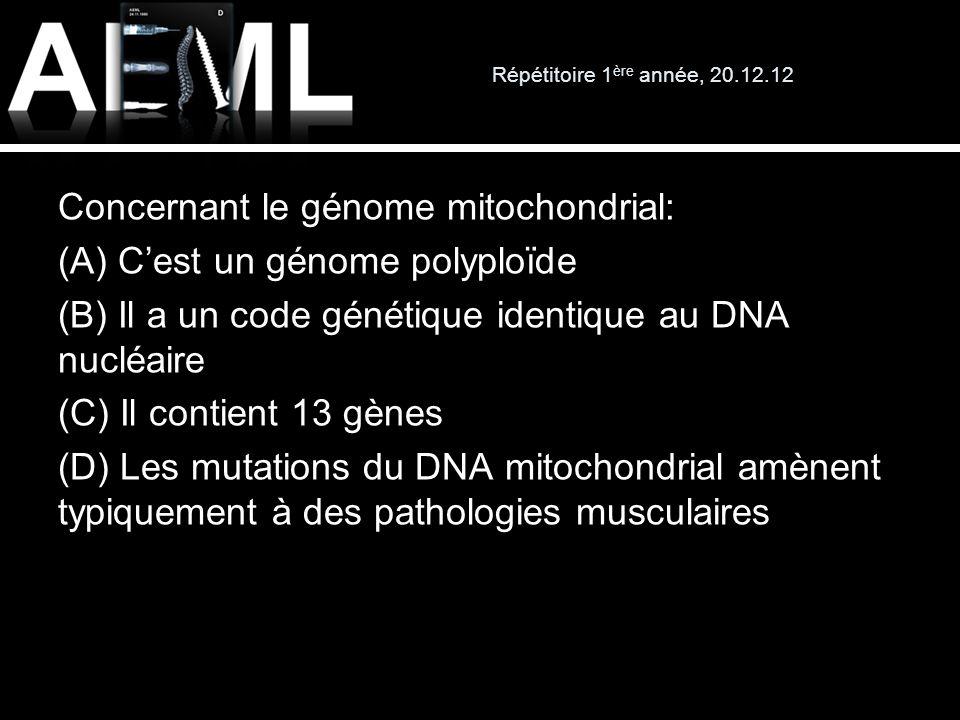 Répétitoire 1 ère année, 20.12.12 Concernant le génome mitochondrial: (A) Cest un génome polyploïde (B) Il a un code génétique identique au DNA nucléa