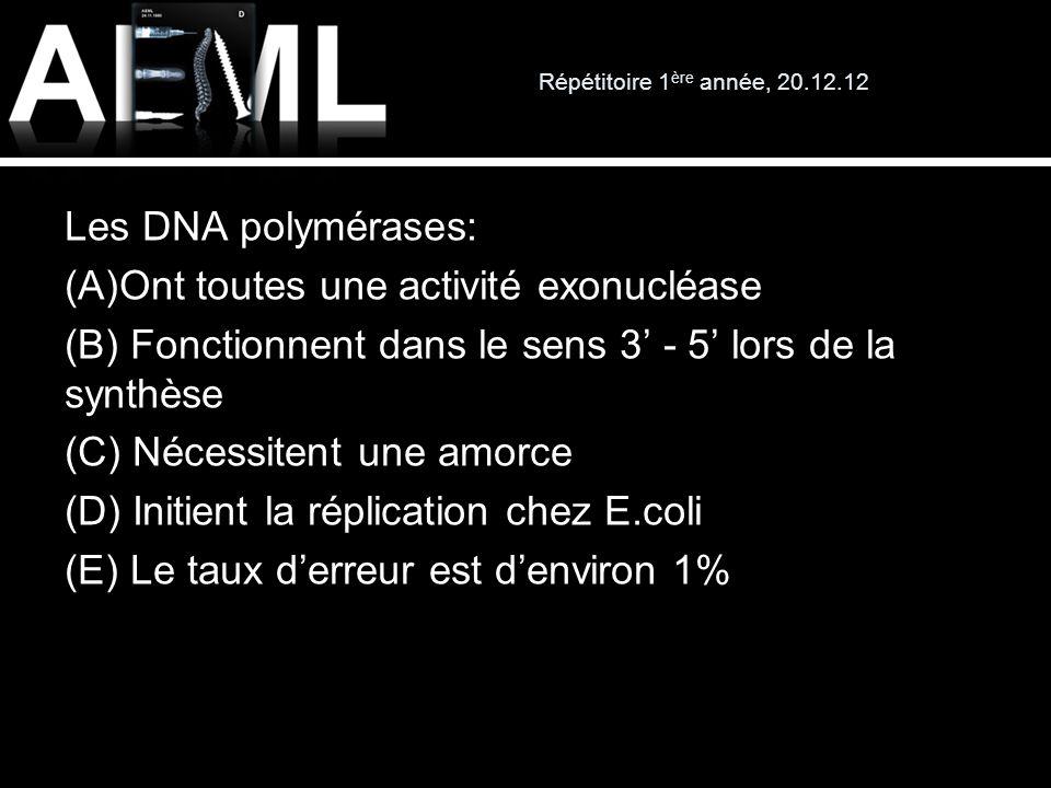 Répétitoire 1 ère année, 20.12.12 Les DNA polymérases: (A)Ont toutes une activité exonucléase (B) Fonctionnent dans le sens 3 - 5 lors de la synthèse