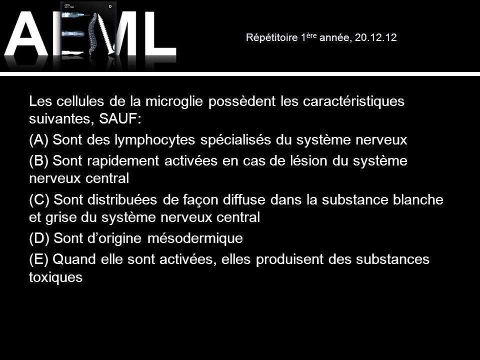 Répétitoire 1 ère année, 20.12.12 Les cellules de la microglie possèdent les caractéristiques suivantes, SAUF: (A) Sont des lymphocytes spécialisés du