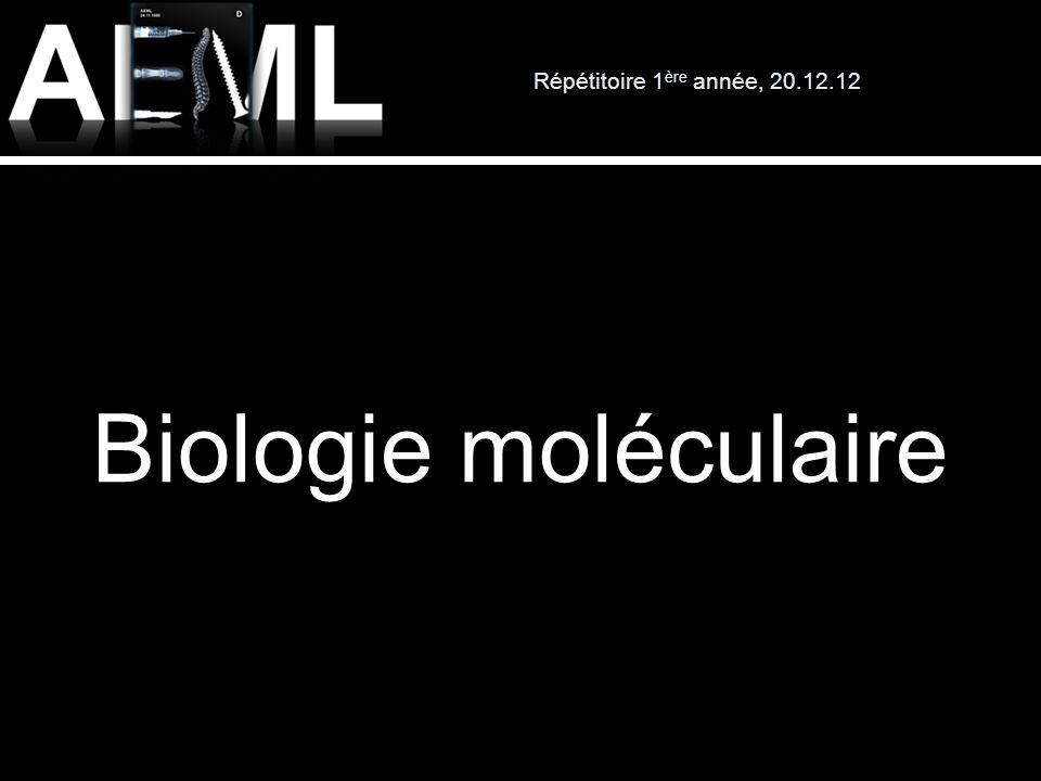 Répétitoire 1 ère année, 20.12.12 Biologie moléculaire