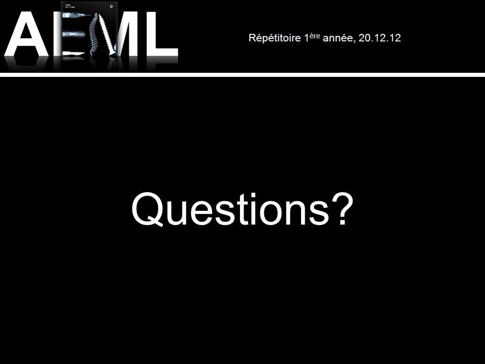 Répétitoire 1 ère année, 20.12.12 Questions?