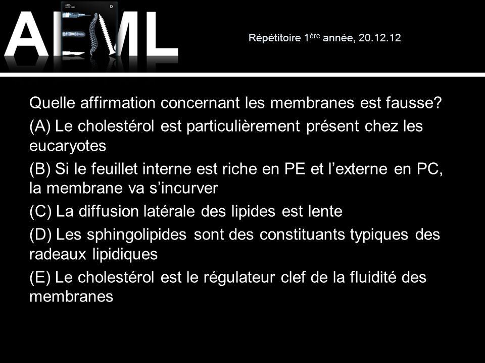 Répétitoire 1 ère année, 20.12.12 Quelle affirmation concernant les membranes est fausse? (A) Le cholestérol est particulièrement présent chez les euc