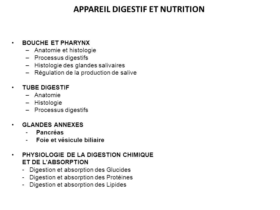 APPAREIL DIGESTIF ET NUTRITION BOUCHE ET PHARYNX –Anatomie et histologie –Processus digestifs –Histologie des glandes salivaires –Régulation de la pro