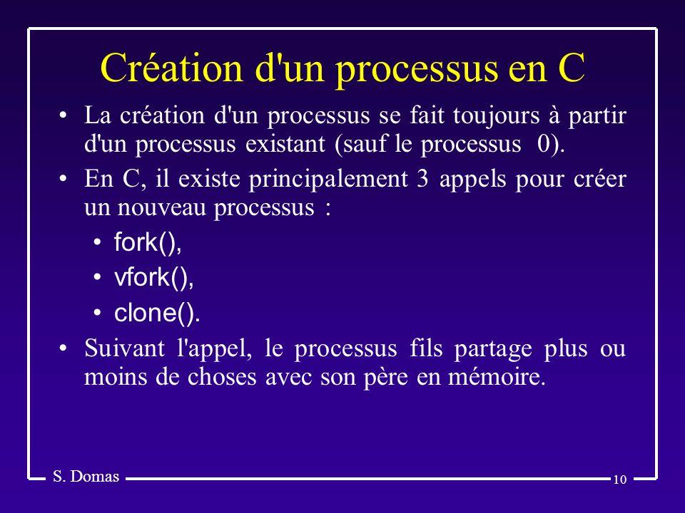 10 Création d'un processus en C S. Domas La création d'un processus se fait toujours à partir d'un processus existant (sauf le processus 0). En C, il