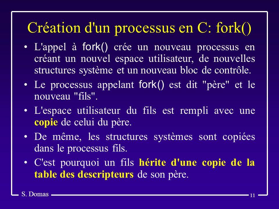 11 Création d'un processus en C: fork() S. Domas L'appel à fork() crée un nouveau processus en créant un nouvel espace utilisateur, de nouvelles struc
