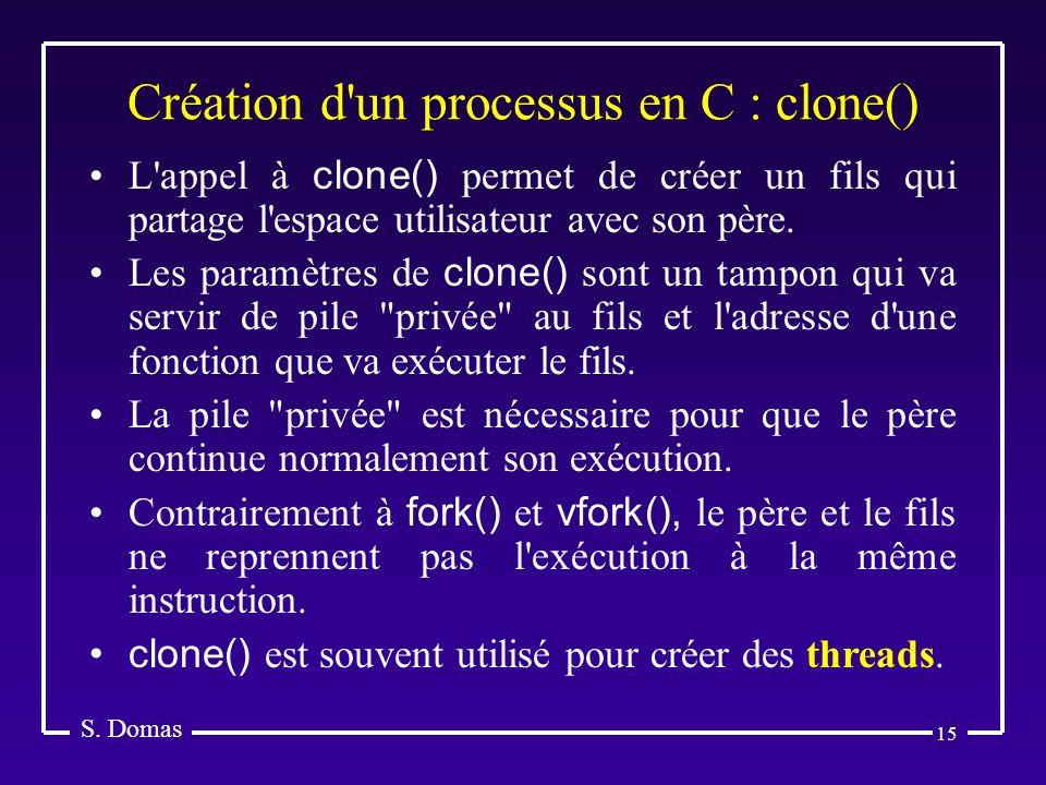 15 Création d'un processus en C : clone() S. Domas L'appel à clone() permet de créer un fils qui partage l'espace utilisateur avec son père. Les param