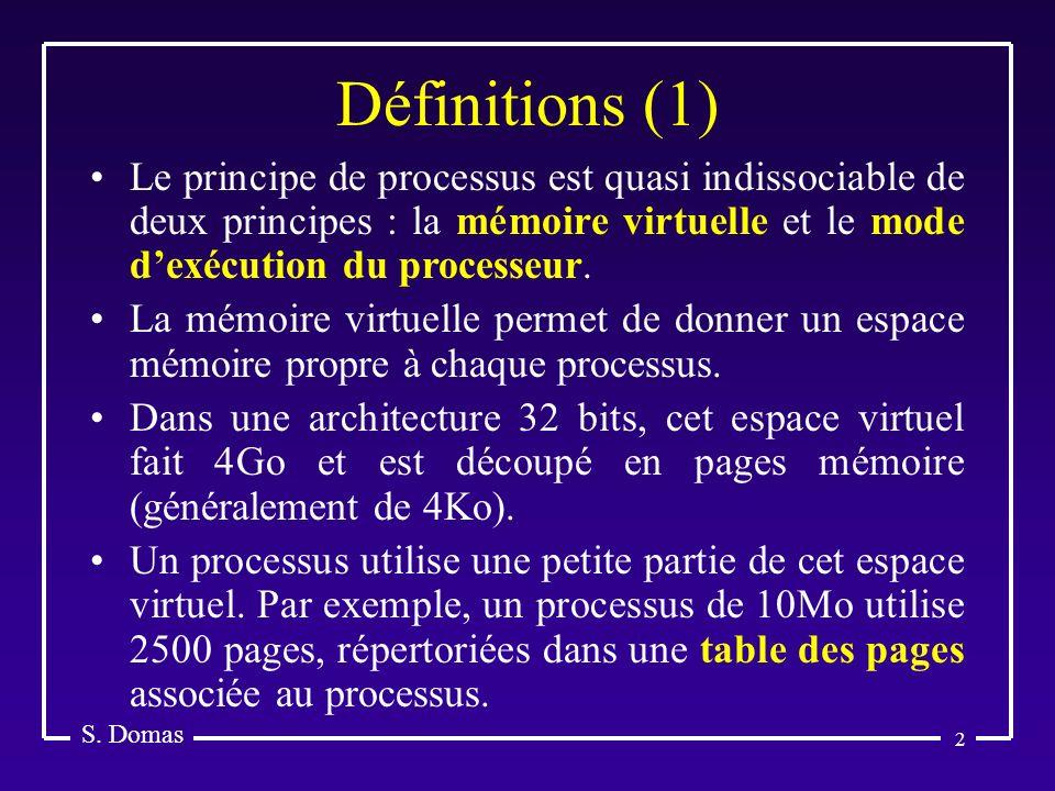 2 Définitions (1) S. Domas Le principe de processus est quasi indissociable de deux principes : la mémoire virtuelle et le mode dexécution du processe