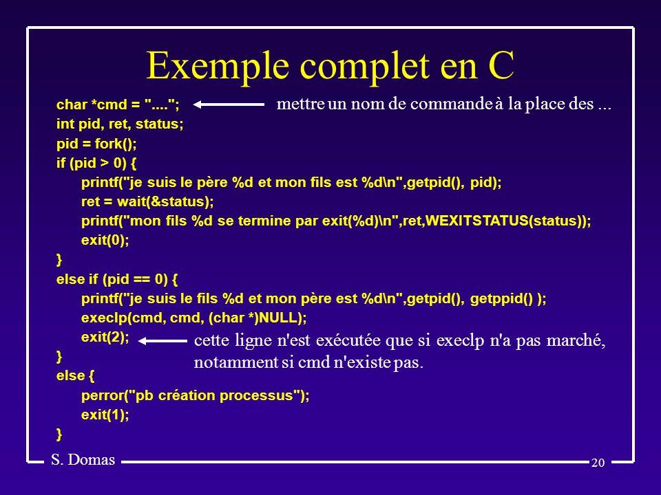 20 Exemple complet en C S. Domas char *cmd =