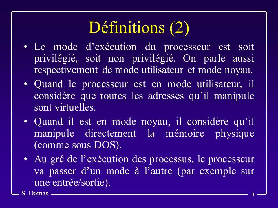 3 Définitions (2) S. Domas Le mode dexécution du processeur est soit privilégié, soit non privilégié. On parle aussi respectivement de mode utilisateu