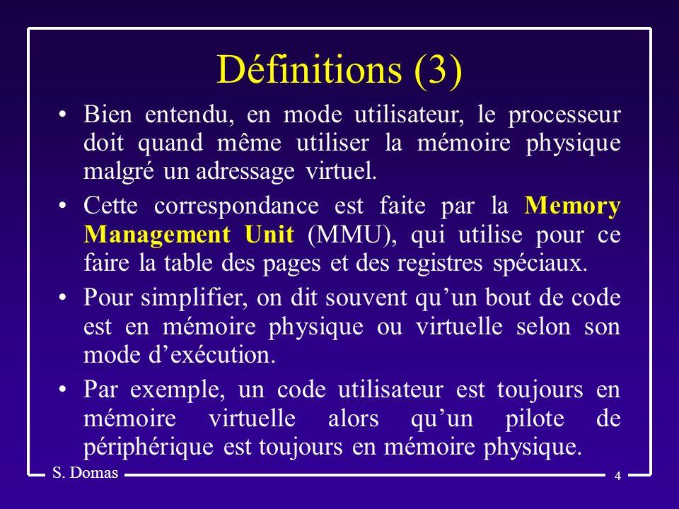 4 Définitions (3) S. Domas Bien entendu, en mode utilisateur, le processeur doit quand même utiliser la mémoire physique malgré un adressage virtuel.