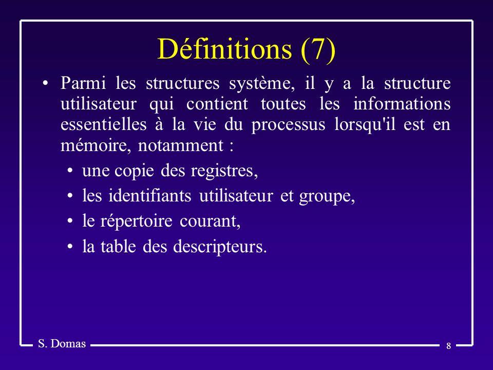 8 Définitions (7) S. Domas Parmi les structures système, il y a la structure utilisateur qui contient toutes les informations essentielles à la vie du