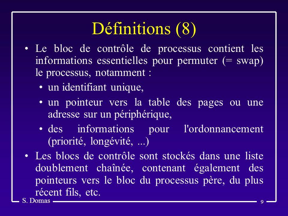 9 Définitions (8) S. Domas Le bloc de contrôle de processus contient les informations essentielles pour permuter (= swap) le processus, notamment : un