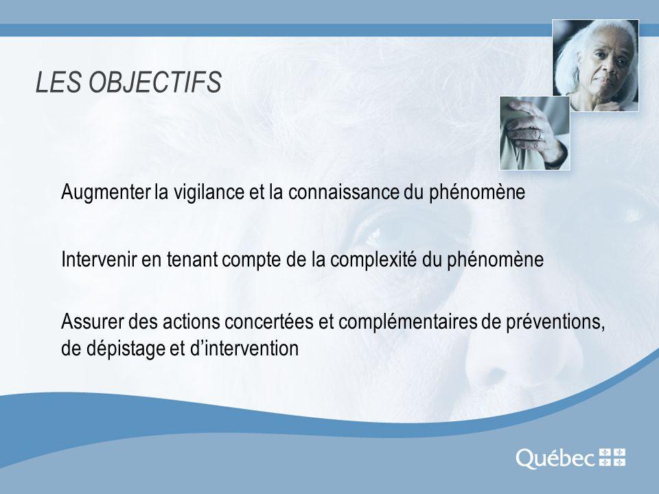 LES OBJECTIFS Augmenter la vigilance et la connaissance du phénomène Intervenir en tenant compte de la complexité du phénomène Assurer des actions con