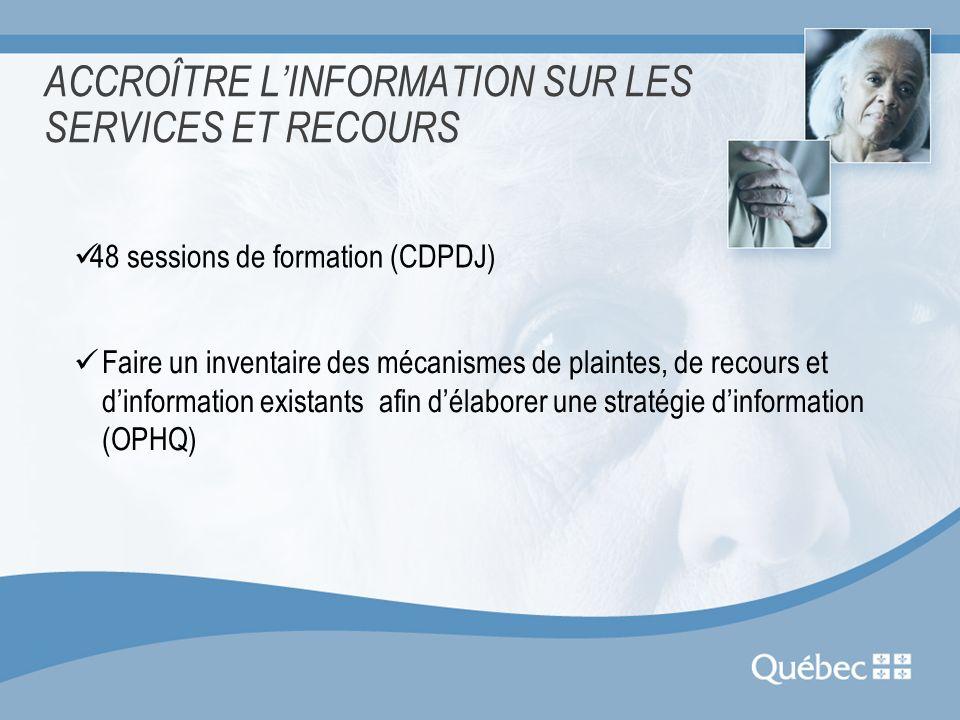 ACCROÎTRE LINFORMATION SUR LES SERVICES ET RECOURS 48 sessions de formation (CDPDJ) Faire un inventaire des mécanismes de plaintes, de recours et dinf