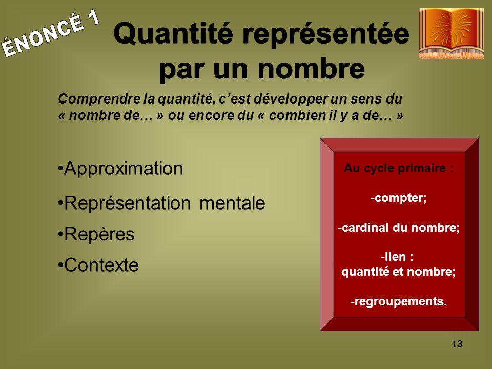 13 Au cycle primaire : -compter; -cardinal du nombre; -lien : quantité et nombre; -regroupements.