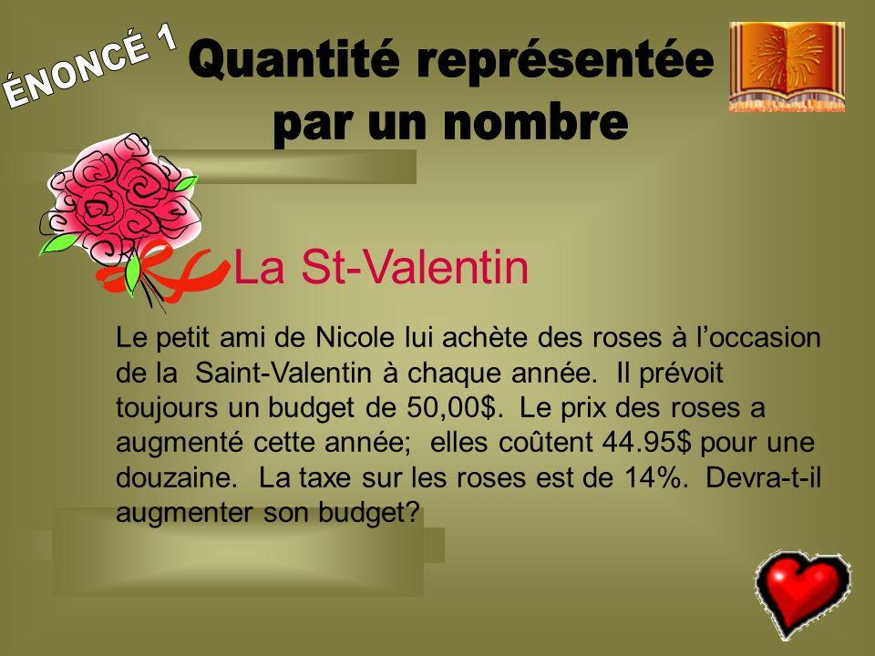 14 La St-Valentin Le petit ami de Nicole lui achète des roses à loccasion de la Saint-Valentin à chaque année.