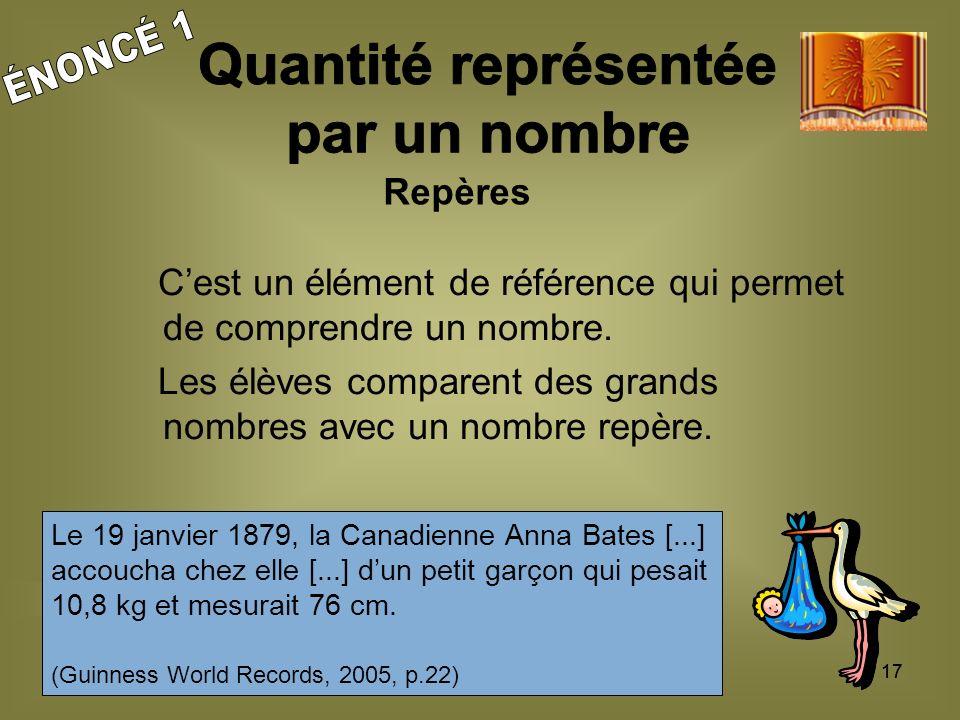 17 Cest un élément de référence qui permet de comprendre un nombre.