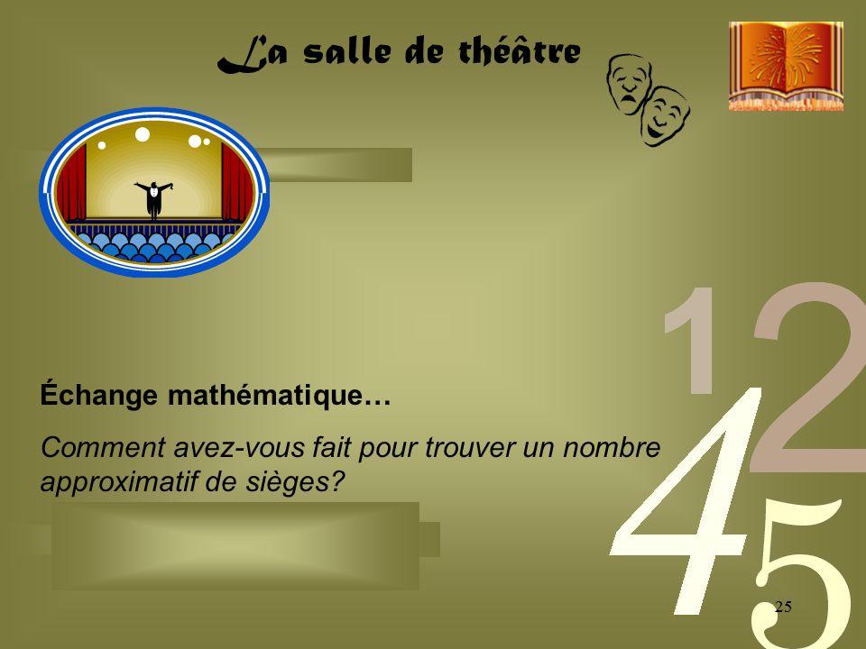 25 Échange mathématique… Comment avez-vous fait pour trouver un nombre approximatif de sièges.