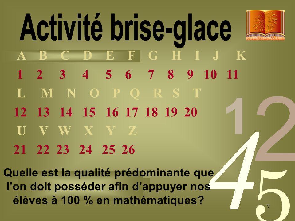 77 A B C D E F G H I J K 1 2 3 4 5 6 7 8 9 10 11 L M N O P Q R S T 12 13 14 15 16 17 18 19 20 U V W X Y Z 21 22 23 24 25 26 Quelle est la qualité prédominante que lon doit posséder afin dappuyer nos élèves à 100 % en mathématiques