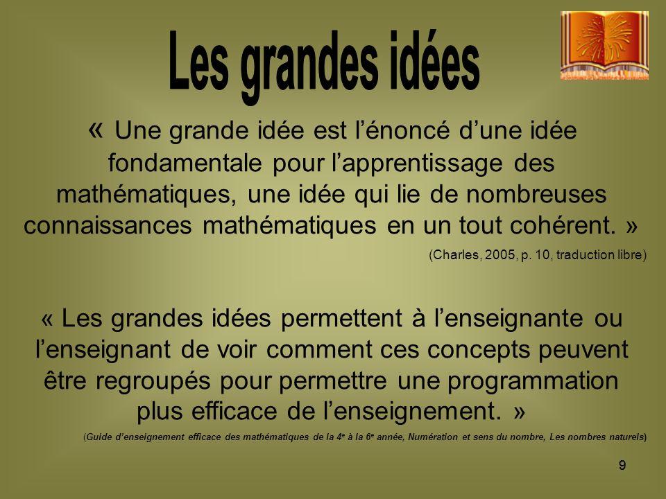 99 « Une grande idée est lénoncé dune idée fondamentale pour lapprentissage des mathématiques, une idée qui lie de nombreuses connaissances mathématiques en un tout cohérent.