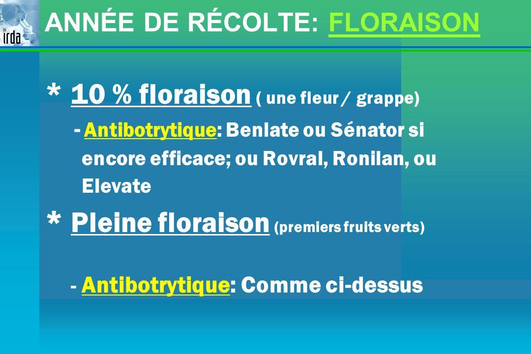 ANNÉE DE RÉCOLTE: FLORAISON * 10 % floraison ( une fleur / grappe) - Antibotrytique: Benlate ou Sénator si encore efficace; ou Rovral, Ronilan, ou Ele