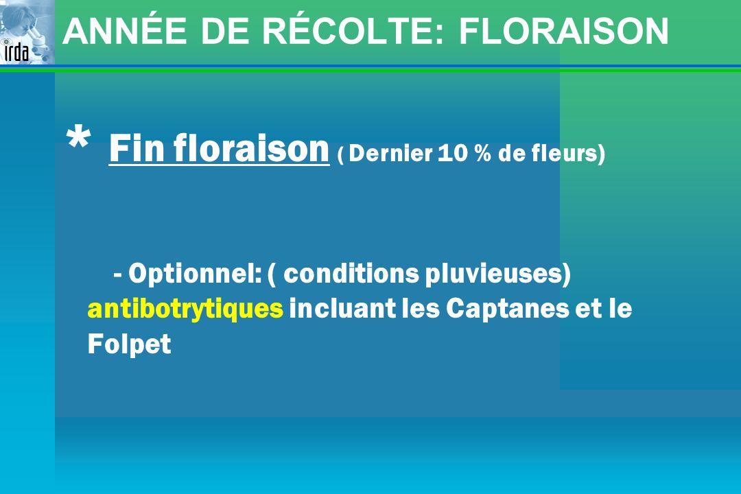 ANNÉE DE RÉCOLTE: FLORAISON * Fin floraison ( Dernier 10 % de fleurs) - Optionnel: ( conditions pluvieuses) antibotrytiques incluant les Captanes et l