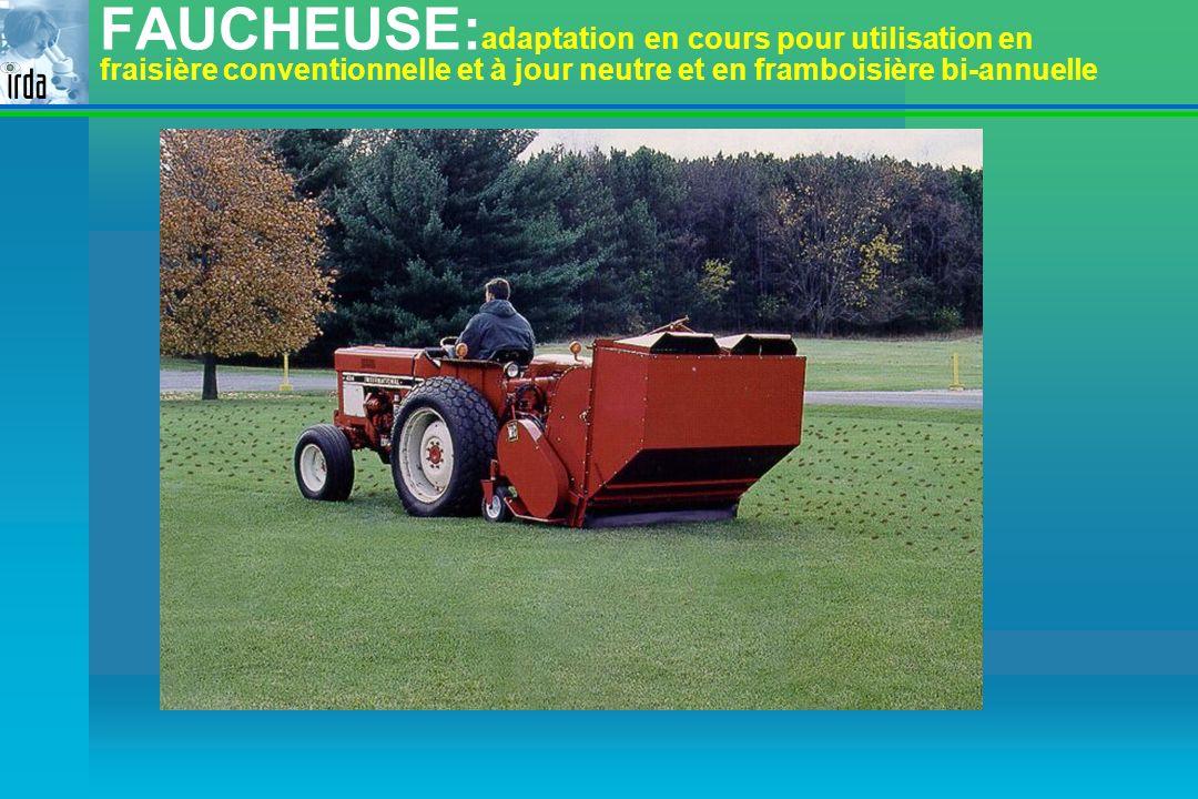 FAUCHEUSE: adaptation en cours pour utilisation en fraisière conventionnelle et à jour neutre et en framboisière bi-annuelle