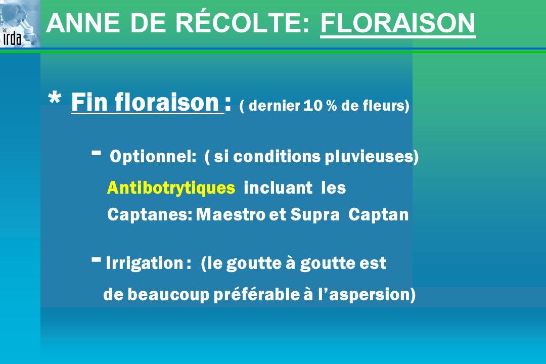 ANNE DE RÉCOLTE: FLORAISON * Fin floraison : ( dernier 10 % de fleurs) - Optionnel: ( si conditions pluvieuses) Antibotrytiques incluant les Captanes: