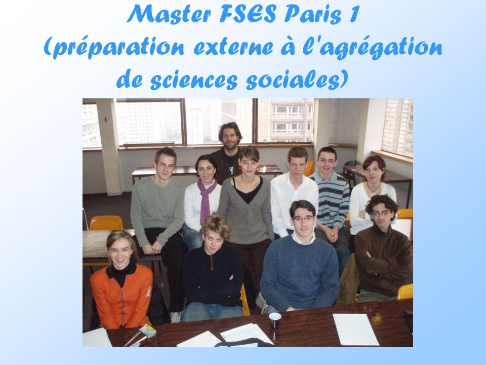 Master FSES Paris 1 (préparation externe à l'agrégation de sciences sociales)