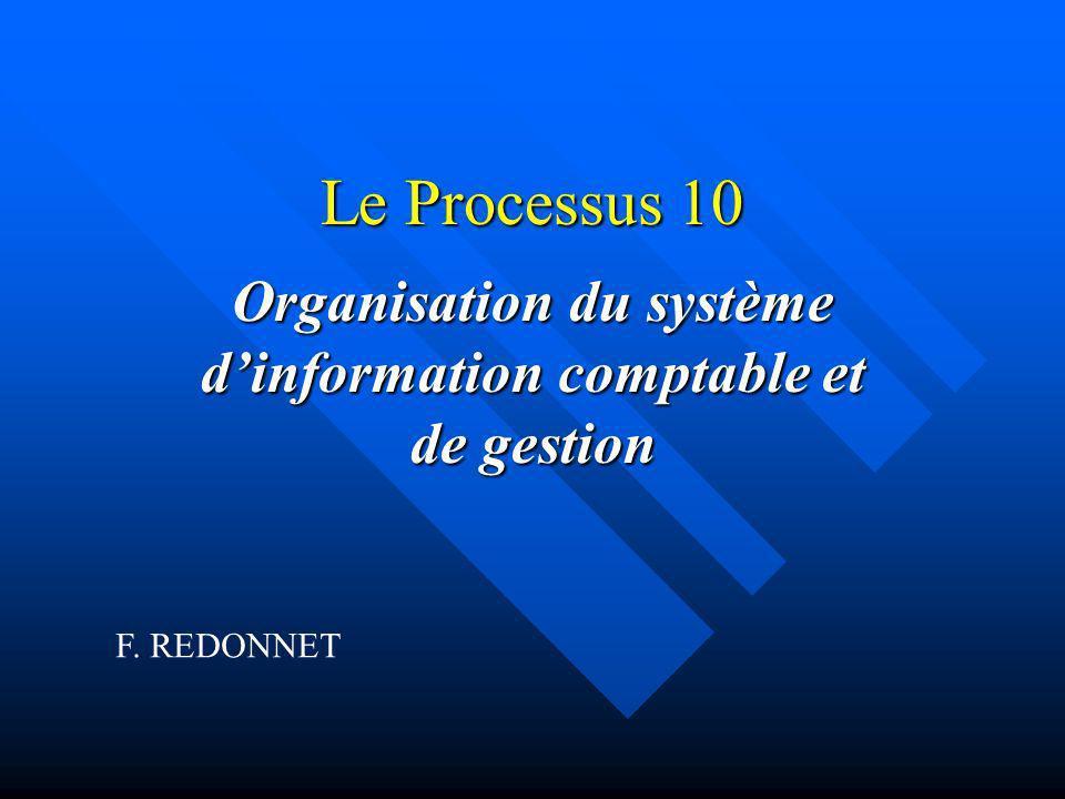 Le Processus 10 Organisation du système dinformation comptable et de gestion F. REDONNET